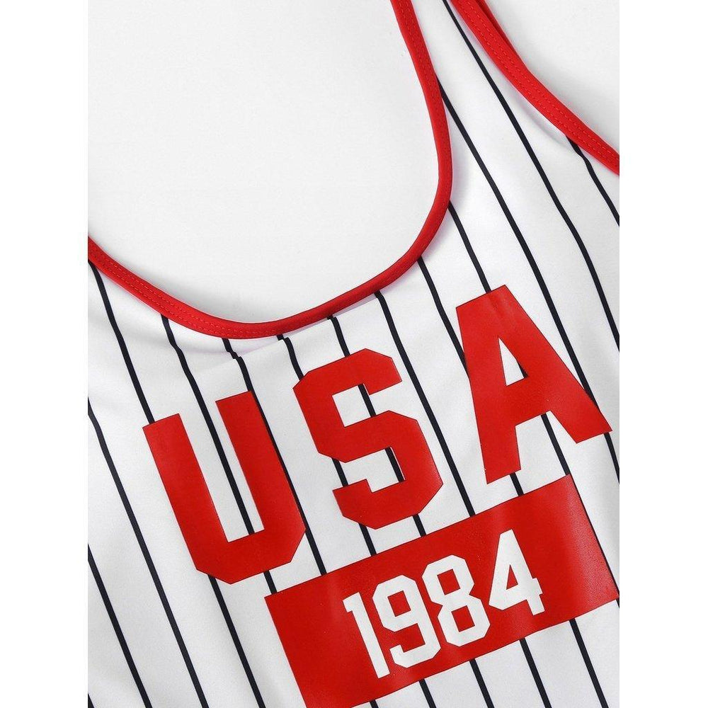 USA Letter and Striped Print Contrast Binding Swimsuit
