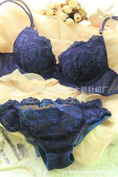Romantic Lace Push Up Bra And Panty Set - Miami Teeny Weeny Bikini