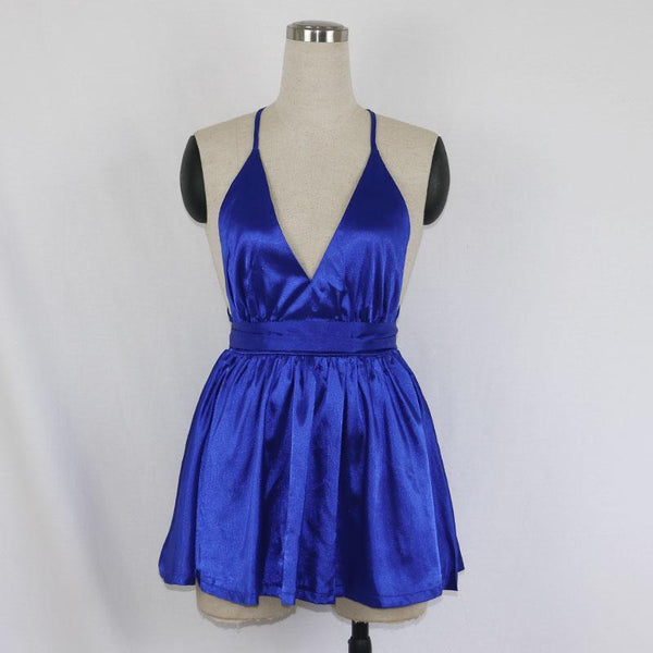 Satin Pleated Mini Bow Tie Strap Party Dress