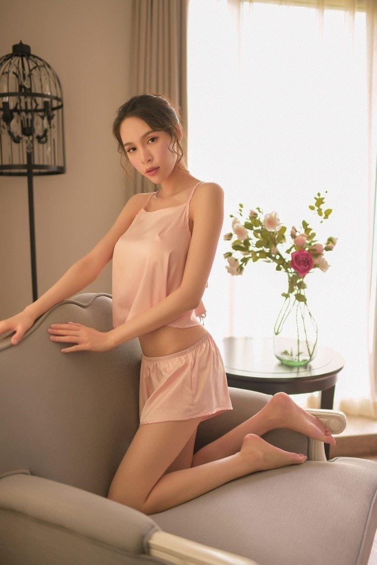 Satin Silk Two Piece Pajama Set - Lingerie