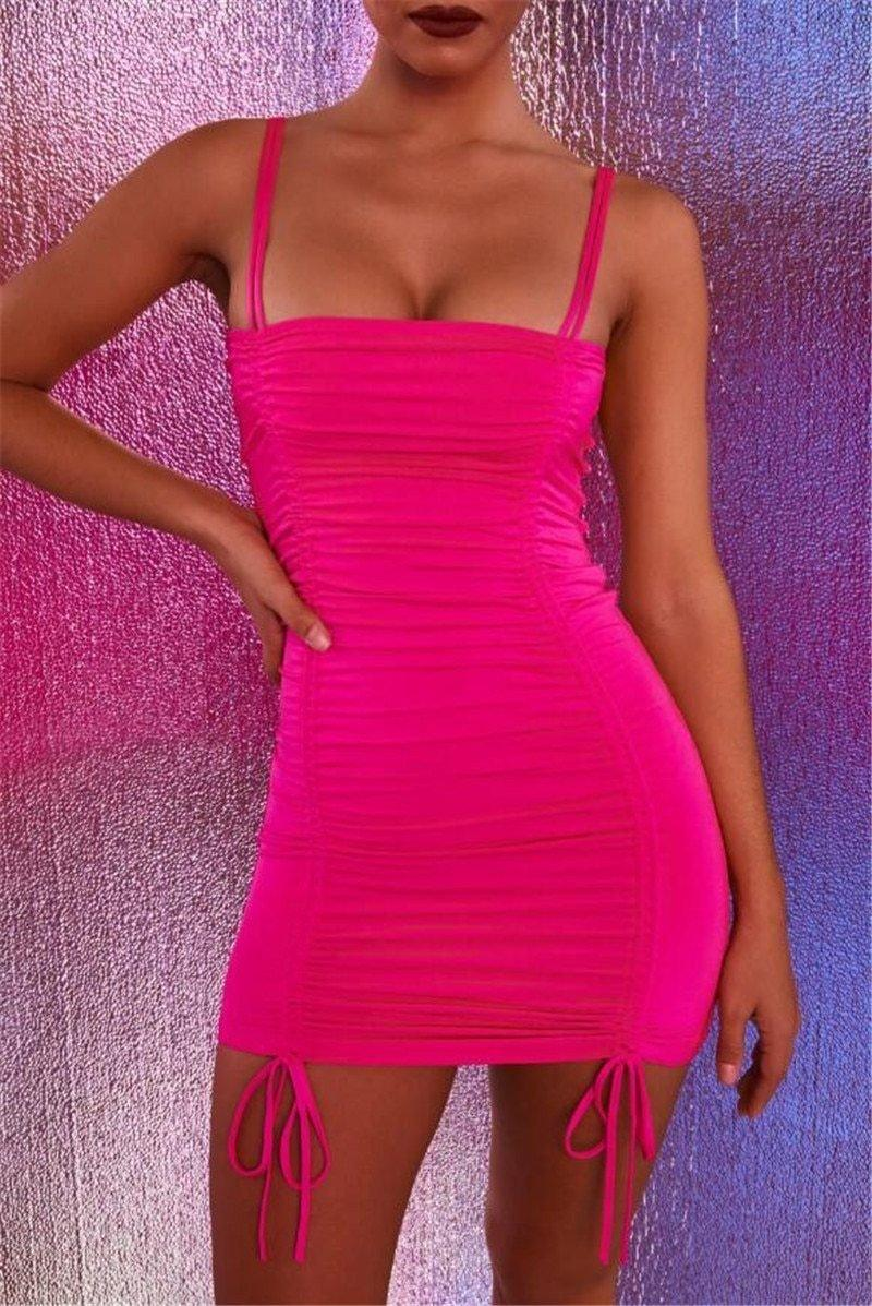 Neon Pleated Spaghetti Strap Club Dress - Dresses
