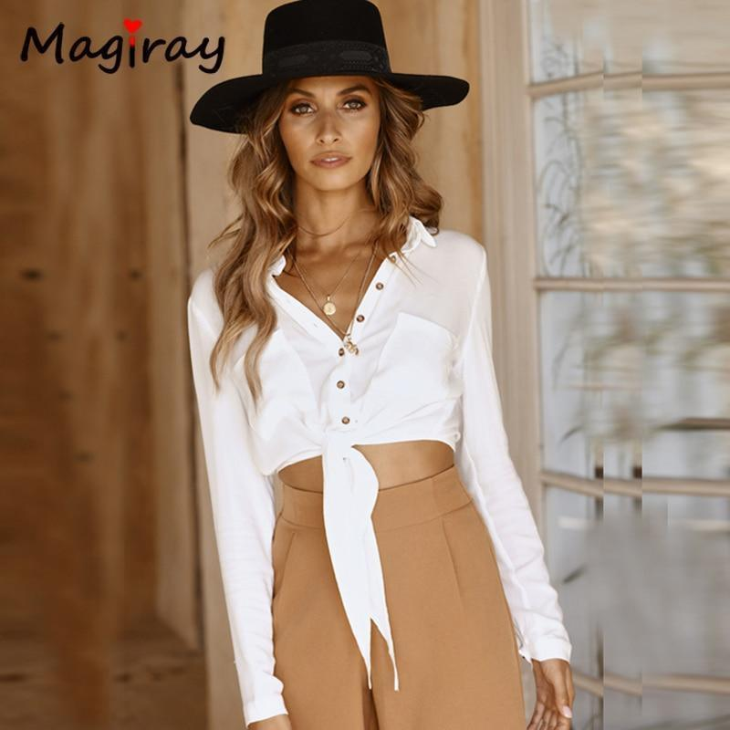 Long Sleeve Bow Knot Front Blouse - Blouse