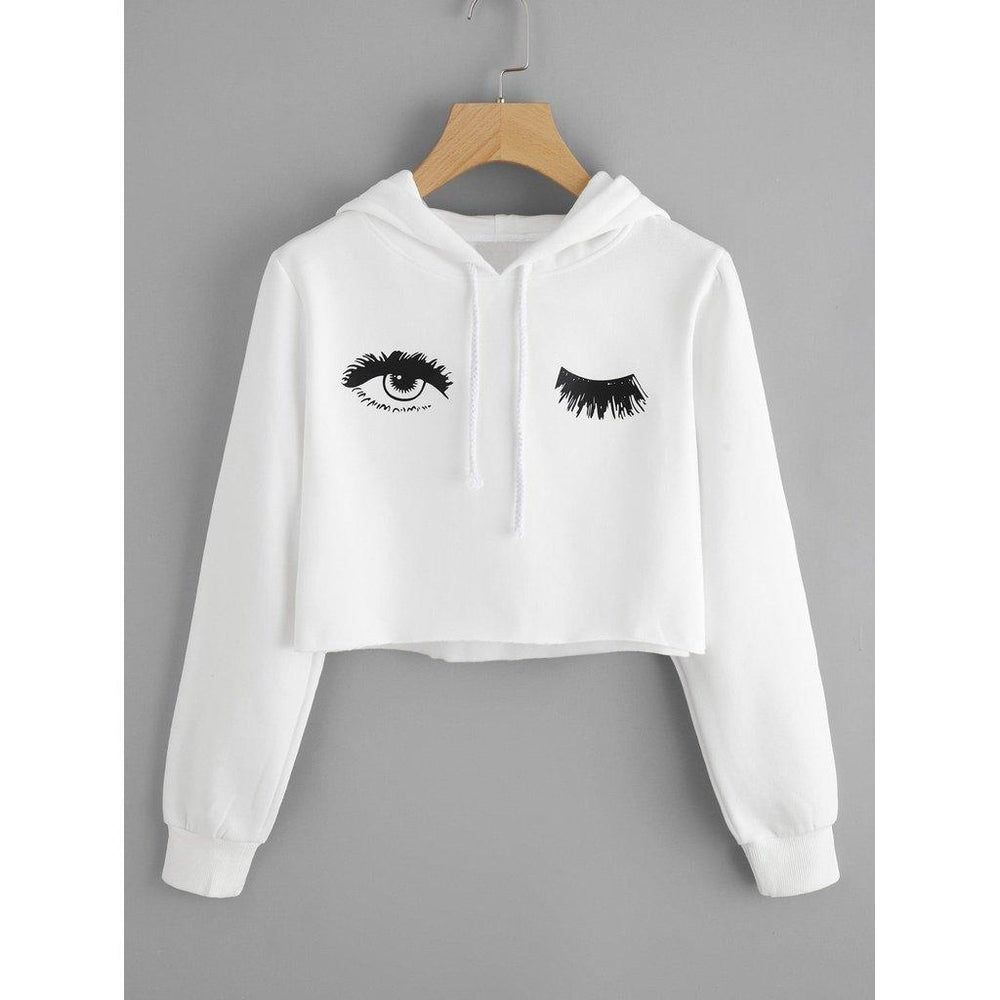 Blink One Eye Print Crop Hoodie - Hoodies