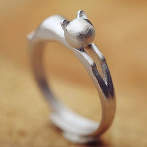 925 Lovely Cat Sterling Silver Ring. - Miami Teeny Weeny Bikini