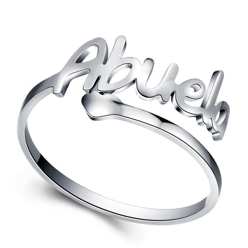 Silver Stainless Steel Love Abuela Cuff Ring. - Jewelry