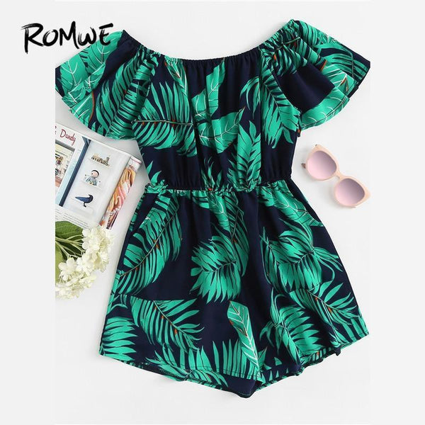 Tropical Leaf Print Off Shoulder Romper