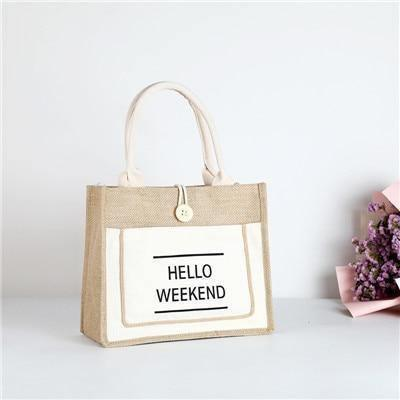 Hello Weekend Luxury Tote/ Beach Bag - Miami Teeny Weeny Bikini