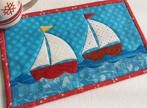 Sailboats Mug Rug Pattern