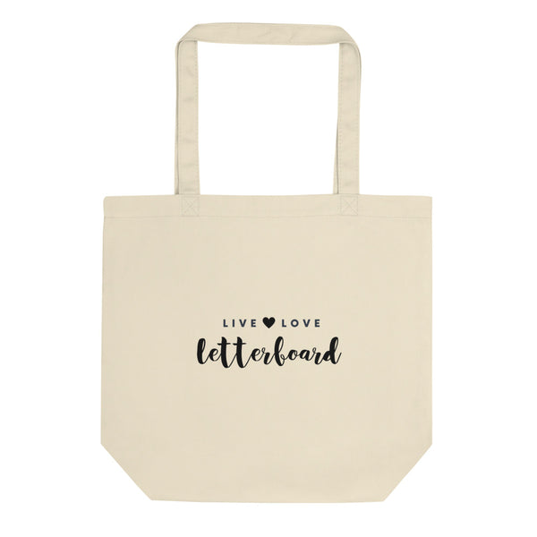 """Live, Love, Letterboard"" Canvas Tote Bag"