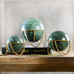 Pyramid Stone Rolling Ball And Metal Stand Art Piece For Home Decor