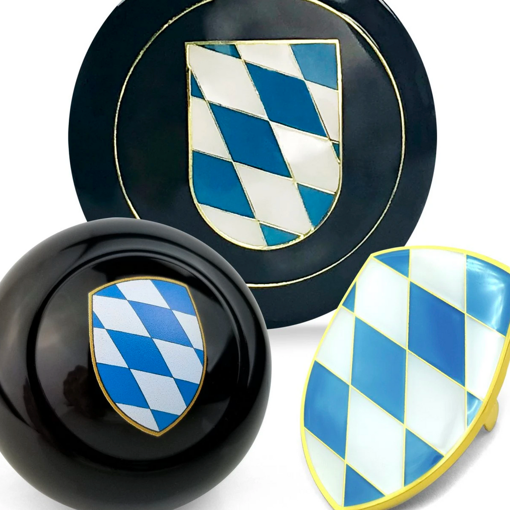 Bavaria Flag 3pcs Dress Up Kits - Horn Button, Hood Crest Kits & Shift Knob