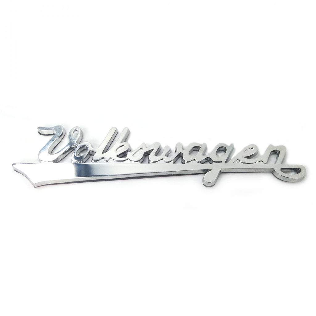 Chrome VW Volkswagen Script Emblem w/ 3M Tape on Back fits VW beetle bus ghia okrasa or anything