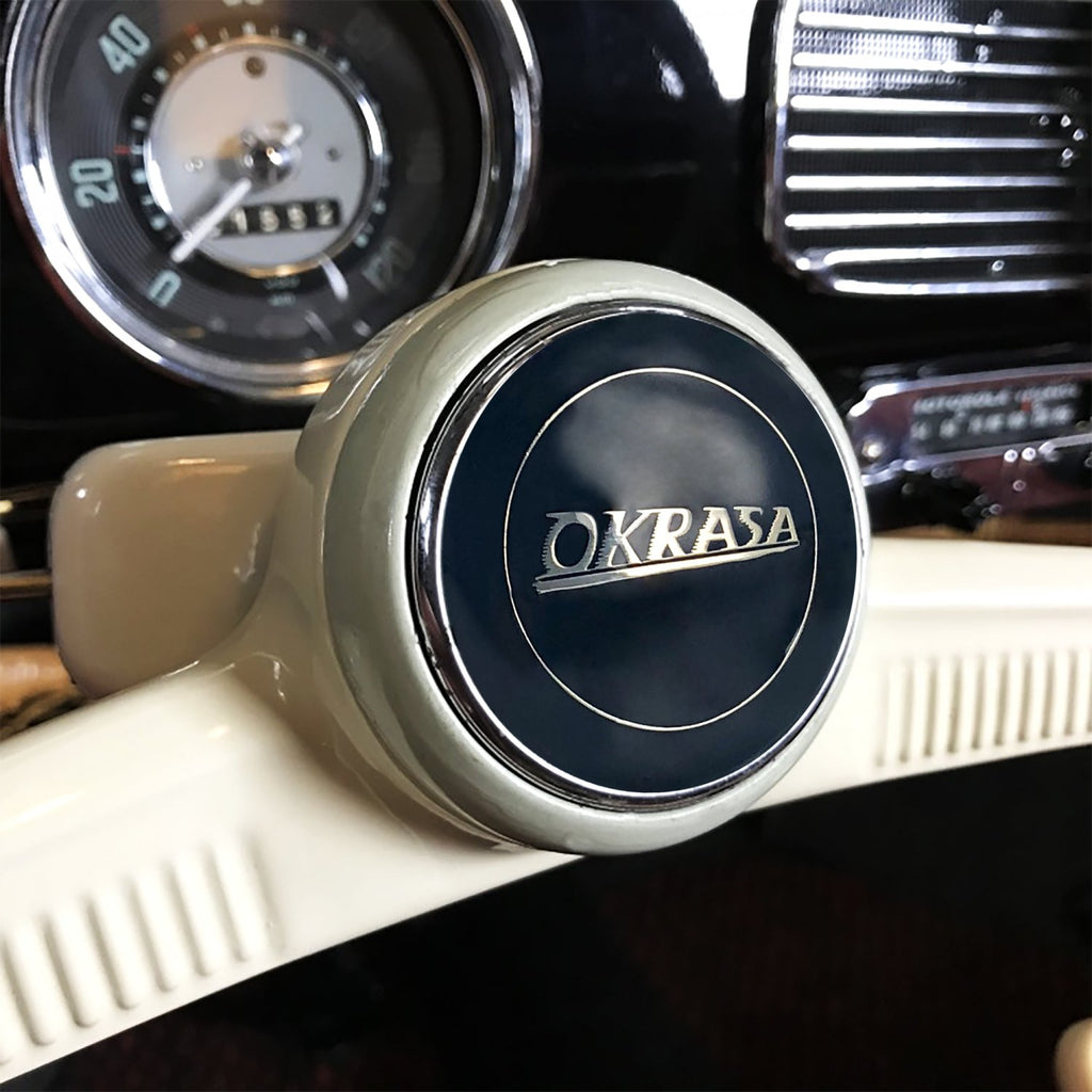 Okrasa 2Pc Kit - Horn Button & Ivory 10mm Shift Knob Bus Beetle Ghia Split