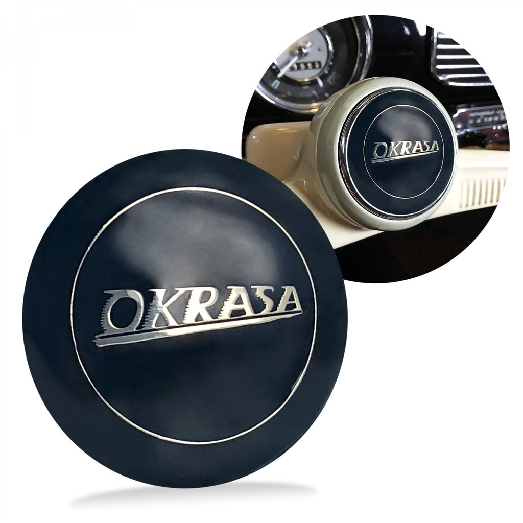 Okrasa 2Pc Kit - Horn Button & Aluminum 7mm Shift Knob Bus Beetle Ghia Split