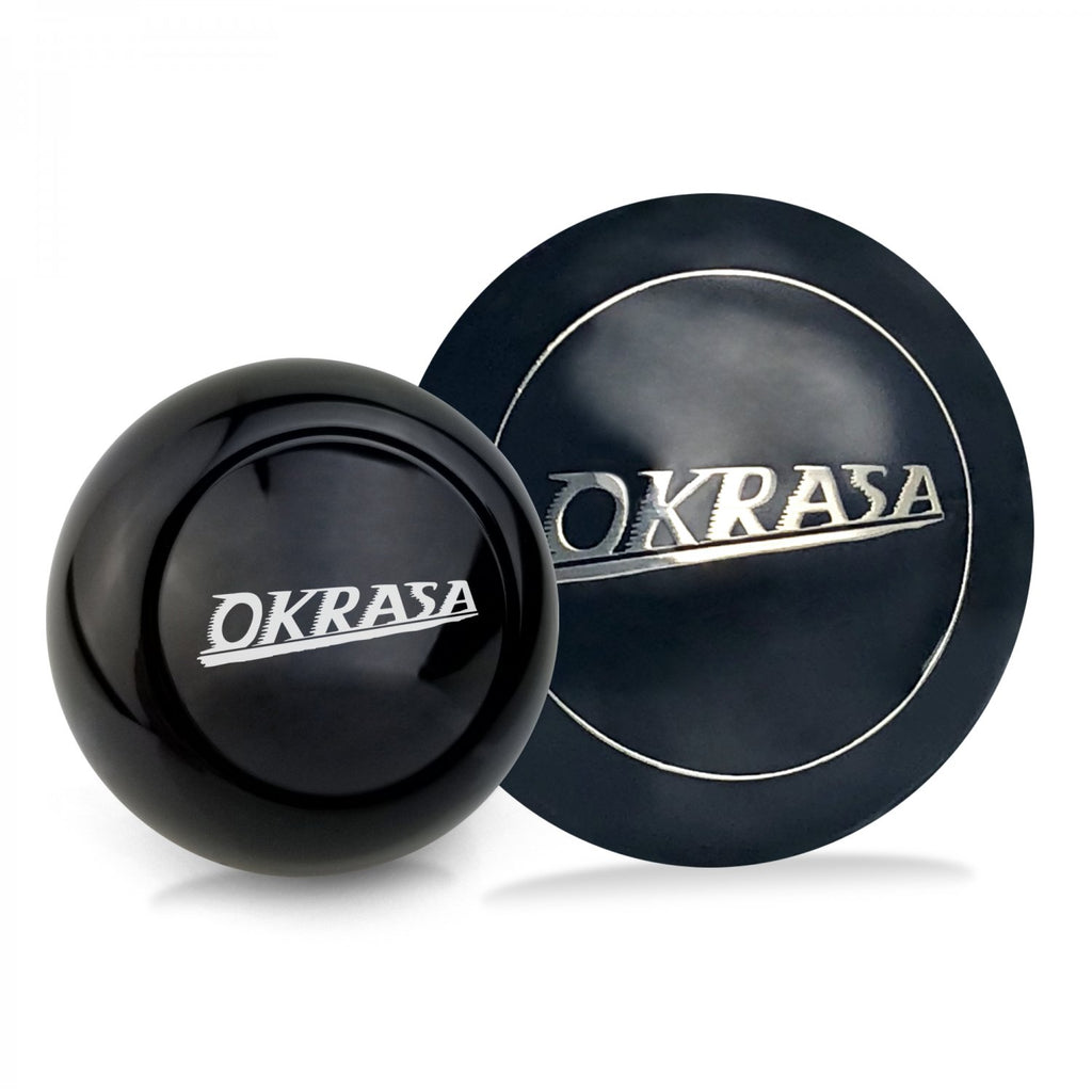 Okrasa 2Pc Kit - Horn Button & Black 7mm Shift Knob Bus Beetle Ghia Split Cox