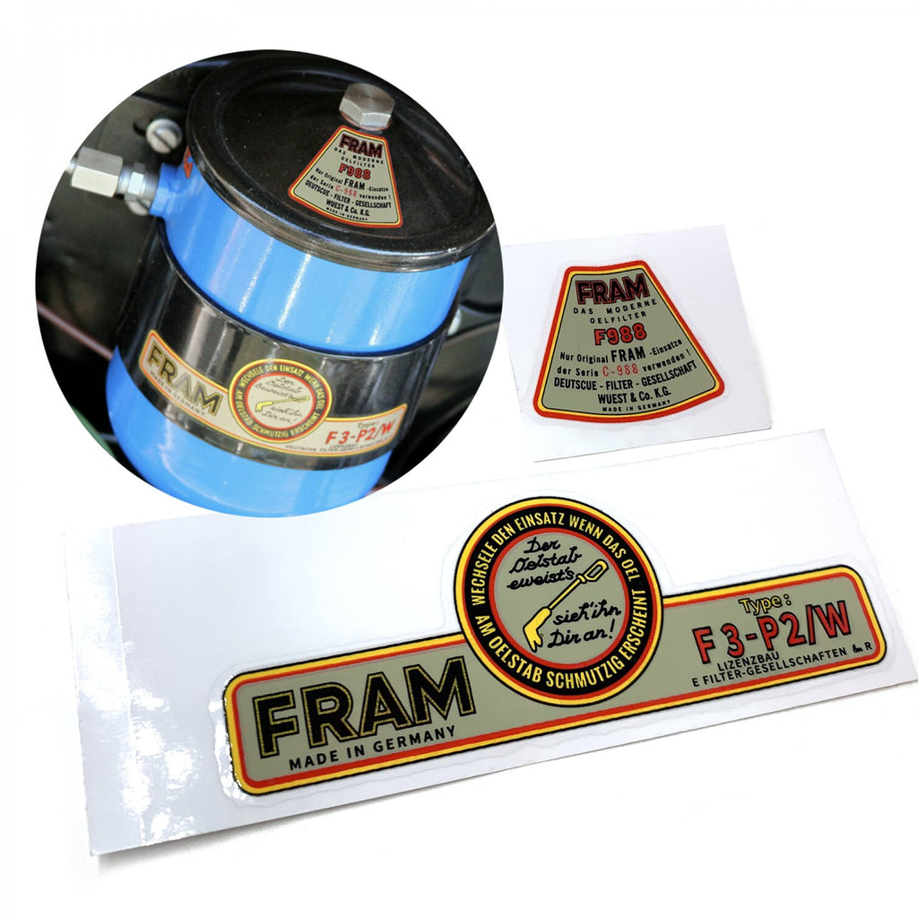 Fram External Oil Filter Sticker Decal Set for VW Okrasa Porsche Volkswagen Beetle Bus Ghia