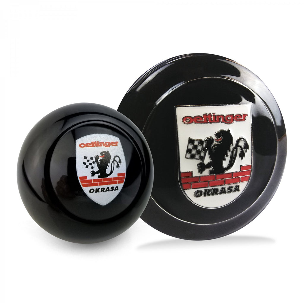 Okrasa Crest 2Pc Kit - Horn Button & Black 12mm Shift Knob Bus Beetle Ghia T2