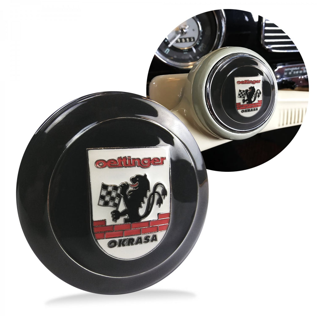 Okrasa Crest 2Pc Kit - Horn Button & Black 7mm Shift Knob Bus Beetle Ghia Cox