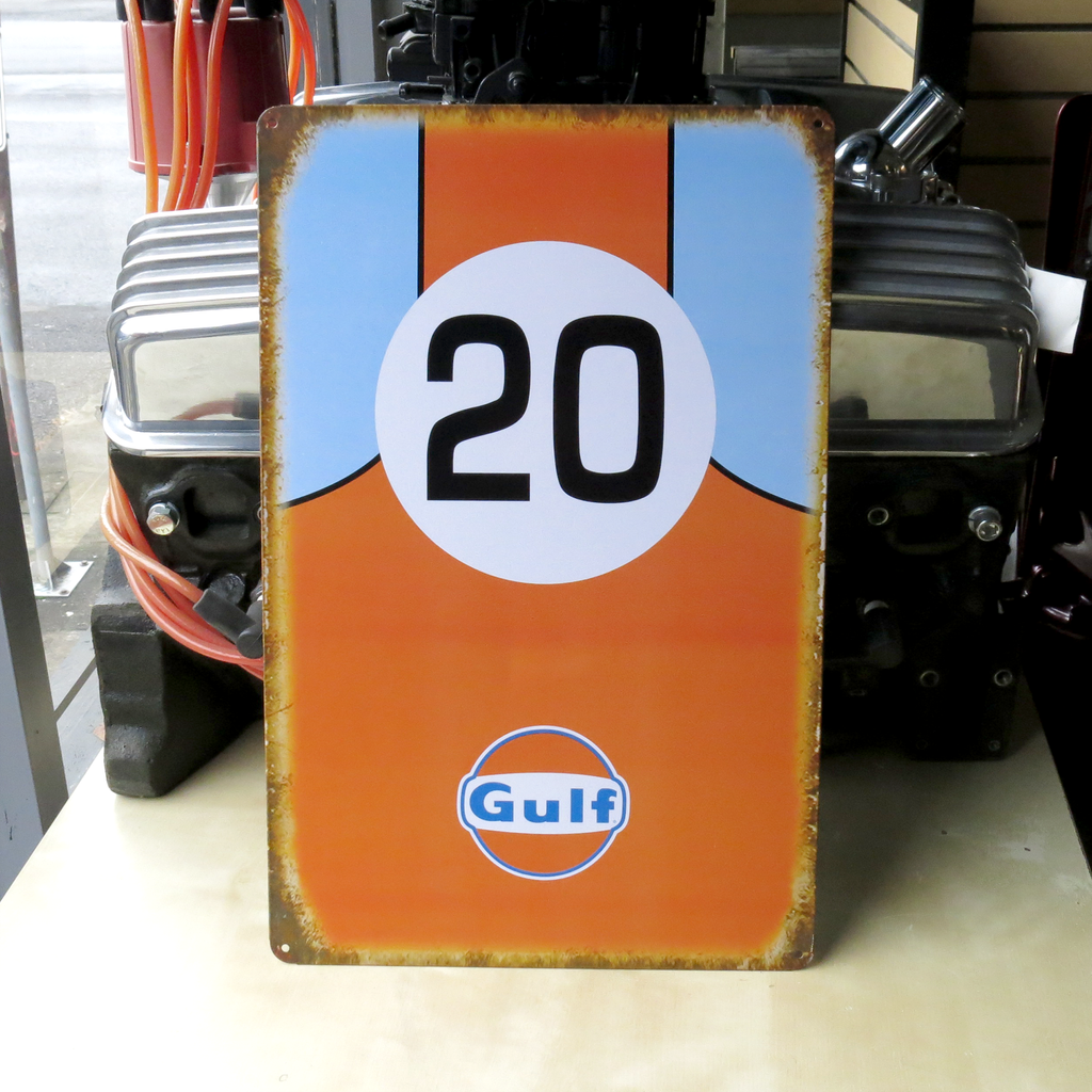 Gulf Oil Racing Metal Tin Sign ideal for Motorsport fans of Porsche F1 Ford Gt