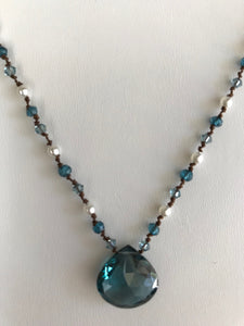 Blue quartz faceted heart head