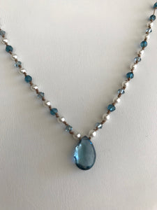 Swiss blue Topaz faceted teardrop