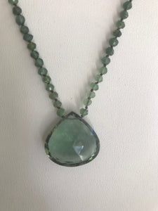 Green quartz faceted large heart