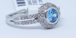 1 blue Helenite, 72 Cubic Zirconium Ring