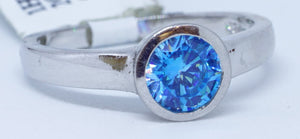 Round blue Helenite 1.35 Ct Ring