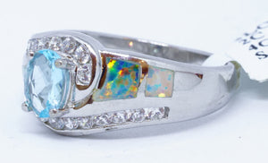 IL Opal, Oval blue Helenite, Cubic Zirconium Ring