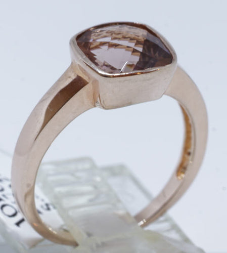 Morganite 2.8 Ct. Checker board cut Oval shape ring