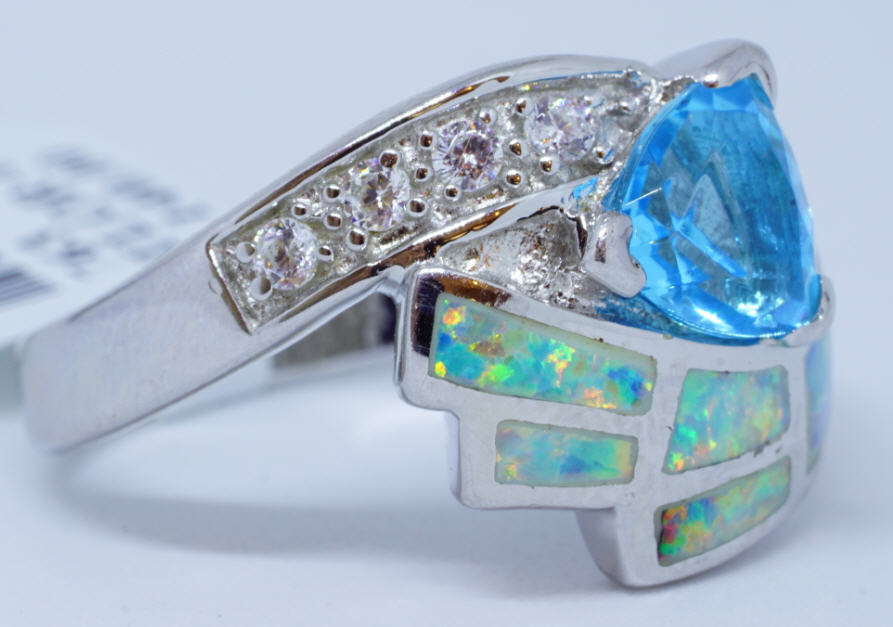 1 Blue Helenite, 1.14 Ct. 6 IL Opal, 4 Cubic Zirconium Ring