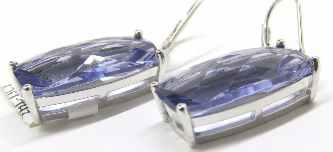 Lavender Helenite Rectangular Sterling Silver Dangling Earrings