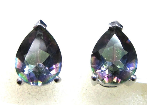 Mystic Topaz Pear Shape Stud Earring in S.S.925