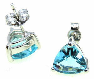 Swiss Blue Helenite Trillion 925 Sterling Silver Stud Earrings