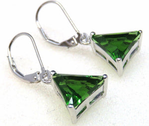 Forest Green Helenite Trillion Solid 925 Silver Earrings