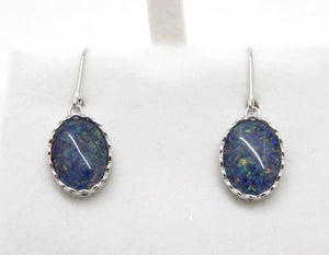 Natural Opal Triplet Dangling Earrings in Sterling Silver