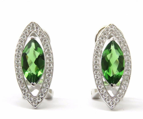 Green Helenite Marquise Sterling Silver Halo French Backing Earrings