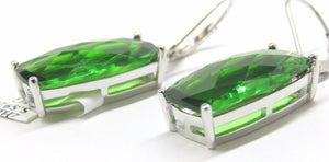 Green Helenite Rectangular Sterling Silver Dangling Earrings