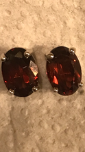 Natural Garnet Semi-precious Birthstones Stud Earrings