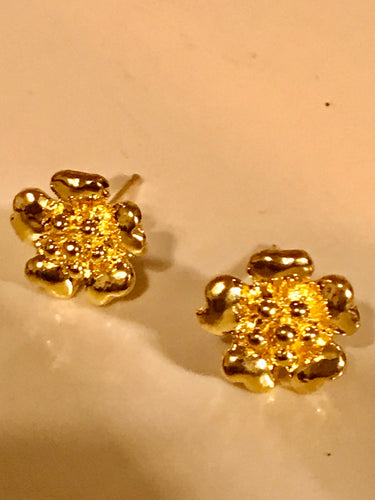 Gold Vermeil Japanese Plum Blossom Flower Stud Earrings