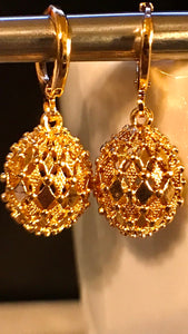 Disco Ball Party Gold Plated Earrings