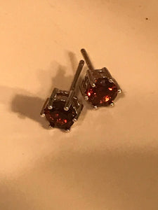 Garnet Stud 925 SS Earrings