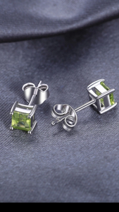 Square Natural Peridot stud earrings