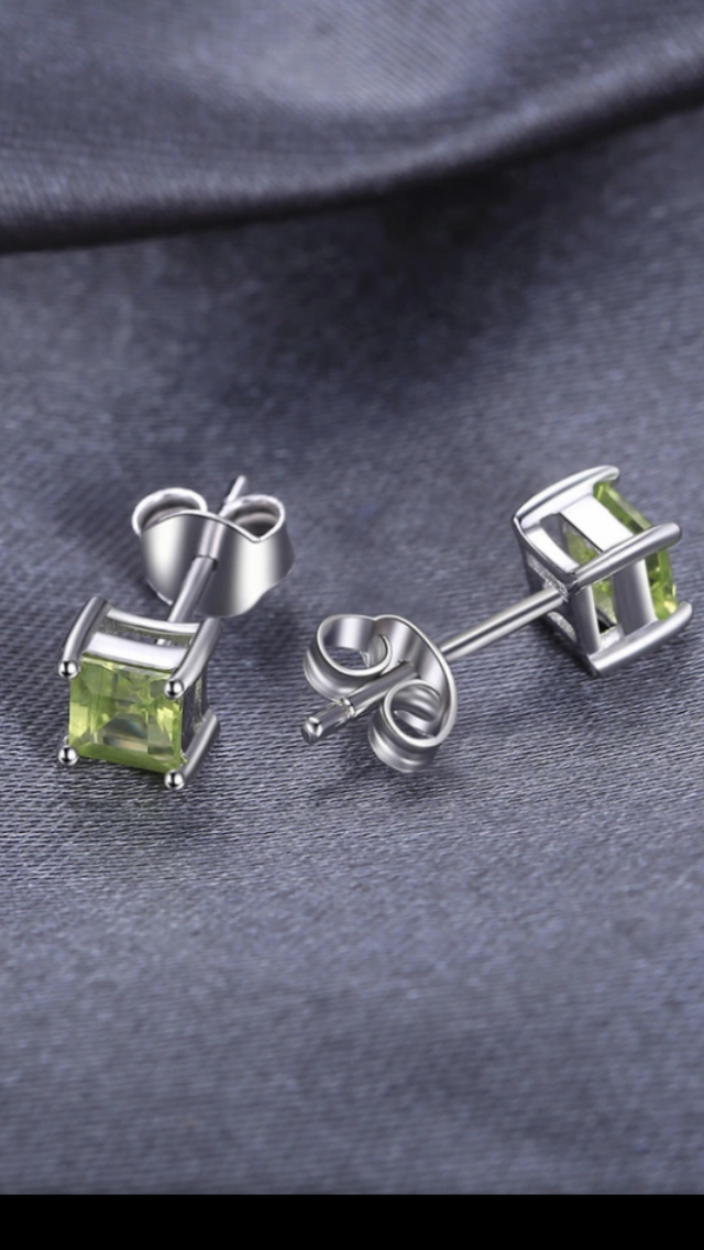 Natural Peridot stud earrings