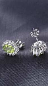 Natural Peridot Halo Stud Earrings