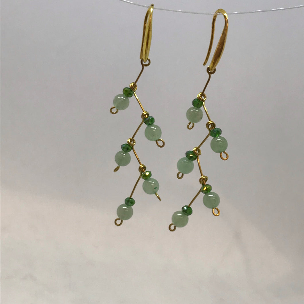 Green Drop Wire Wrap Earrings