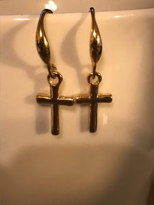 Gold Filled Cross Dangle Drop Earrings
