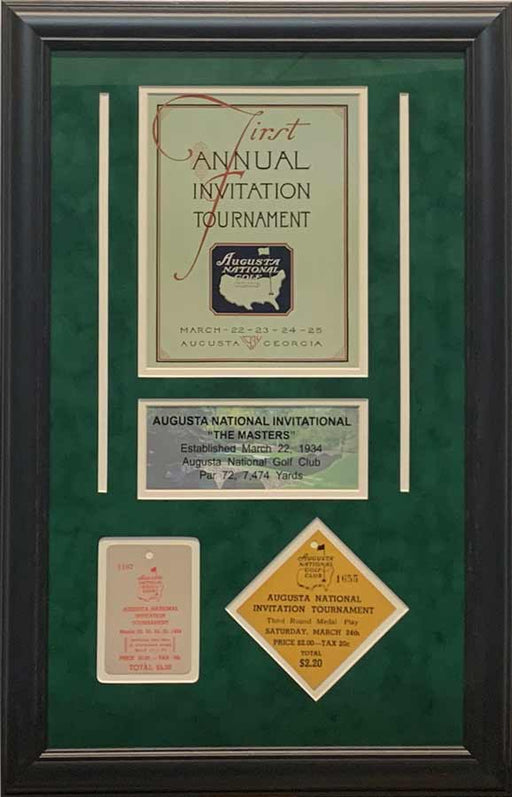 1st Annual Invitation Master's Replica Program Cover with Replica Tickets - Professionally Framed