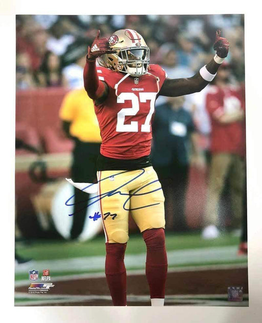 Signed 49ERS Mini Helmets Adrian Colbert Signed Arms Up 11x14 Photo