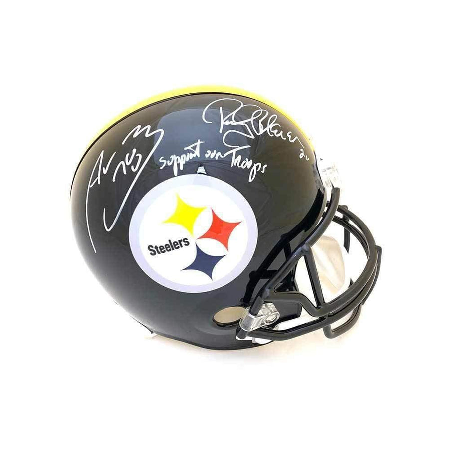 Alejando Villanueva and Rocky Bleier Dual Signed Pittsburgh Steelers Full Size Helmet with Support Our Troops
